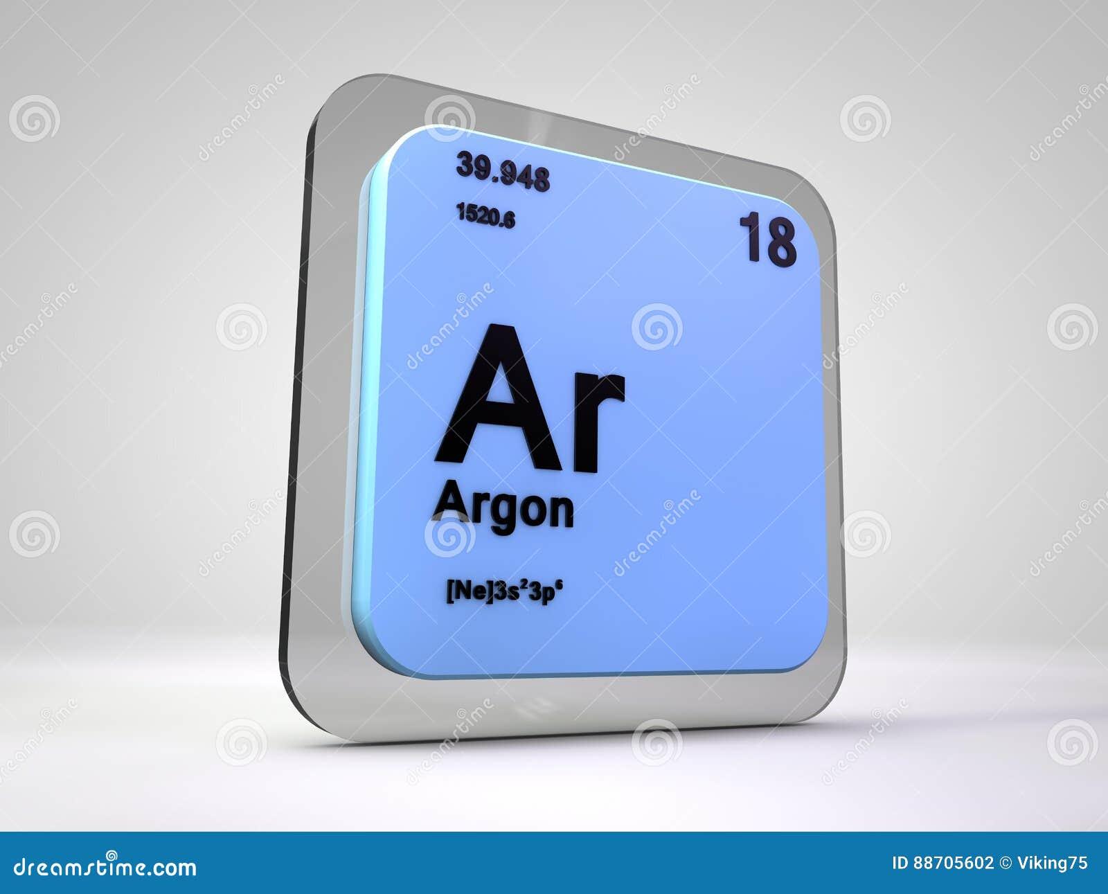 Argon Ar Chemical Element Periodic Table Stock Illustration