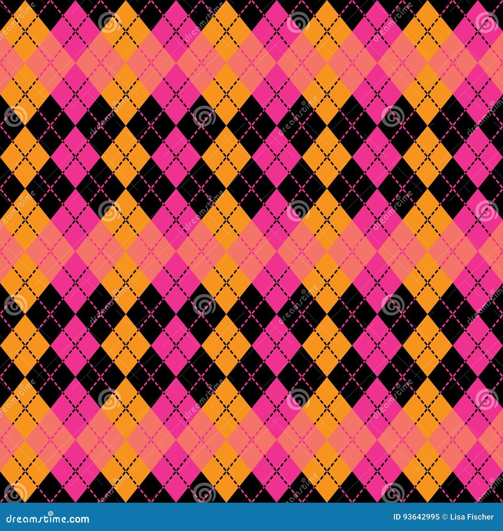 Argyle Design i rosa färger, apelsin och svart