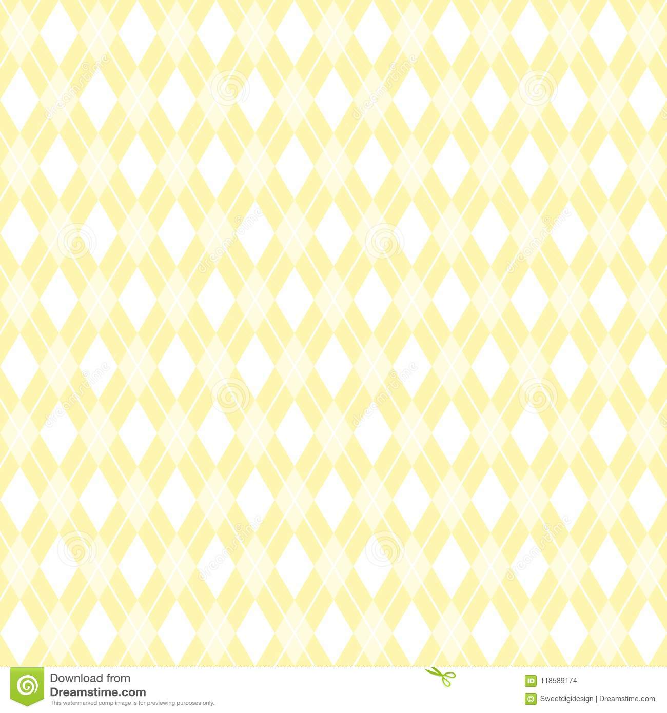 Argyle Pattern Yellow Background Argyle Scrapbook Paper Stock