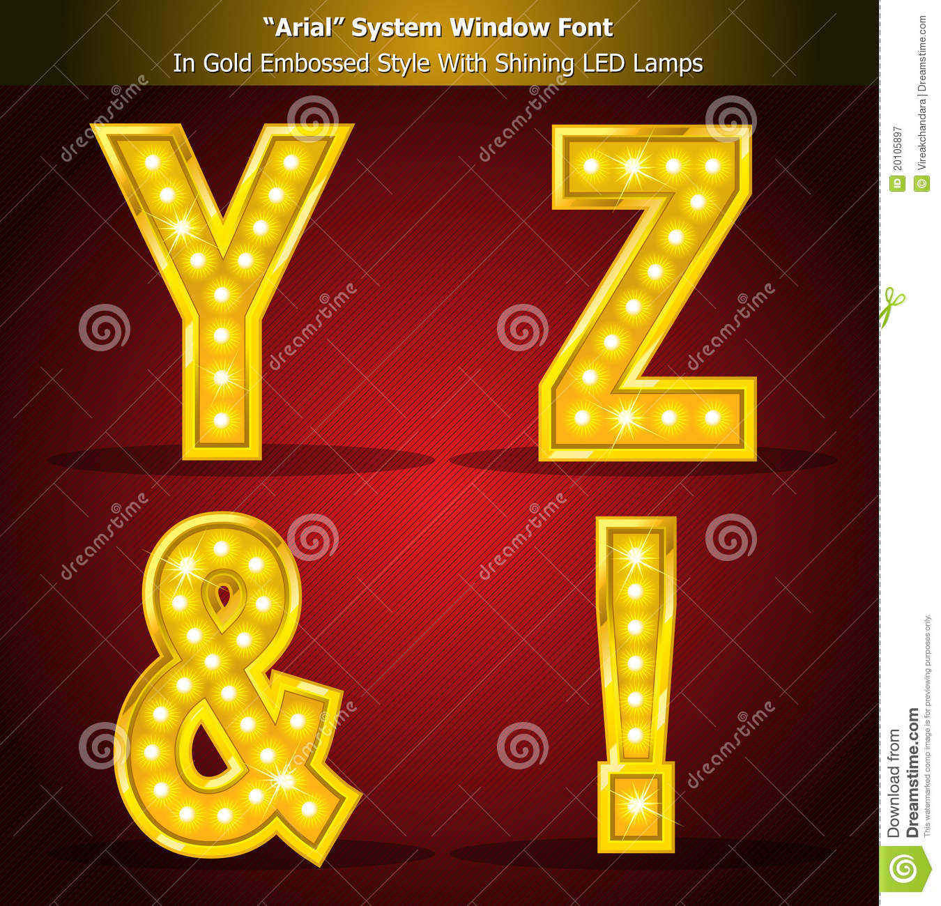 Arial Font In Gold Style With Shining LED Lamps Stock Vector
