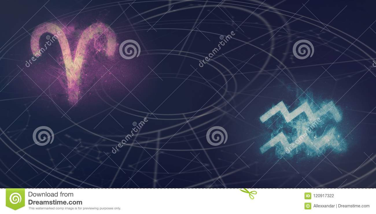 Aries And Aquarius Horoscope Signs Compatibility  Night Sky Abstract