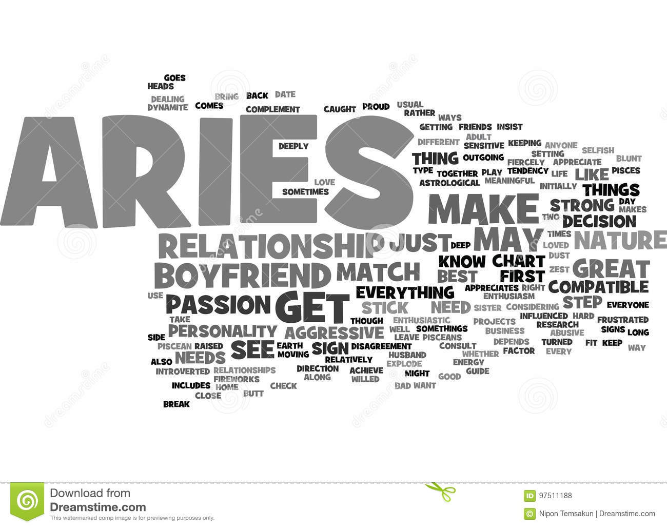Aries As A Boyfriend Your Sign May Play A Factor Word Cloud Concept