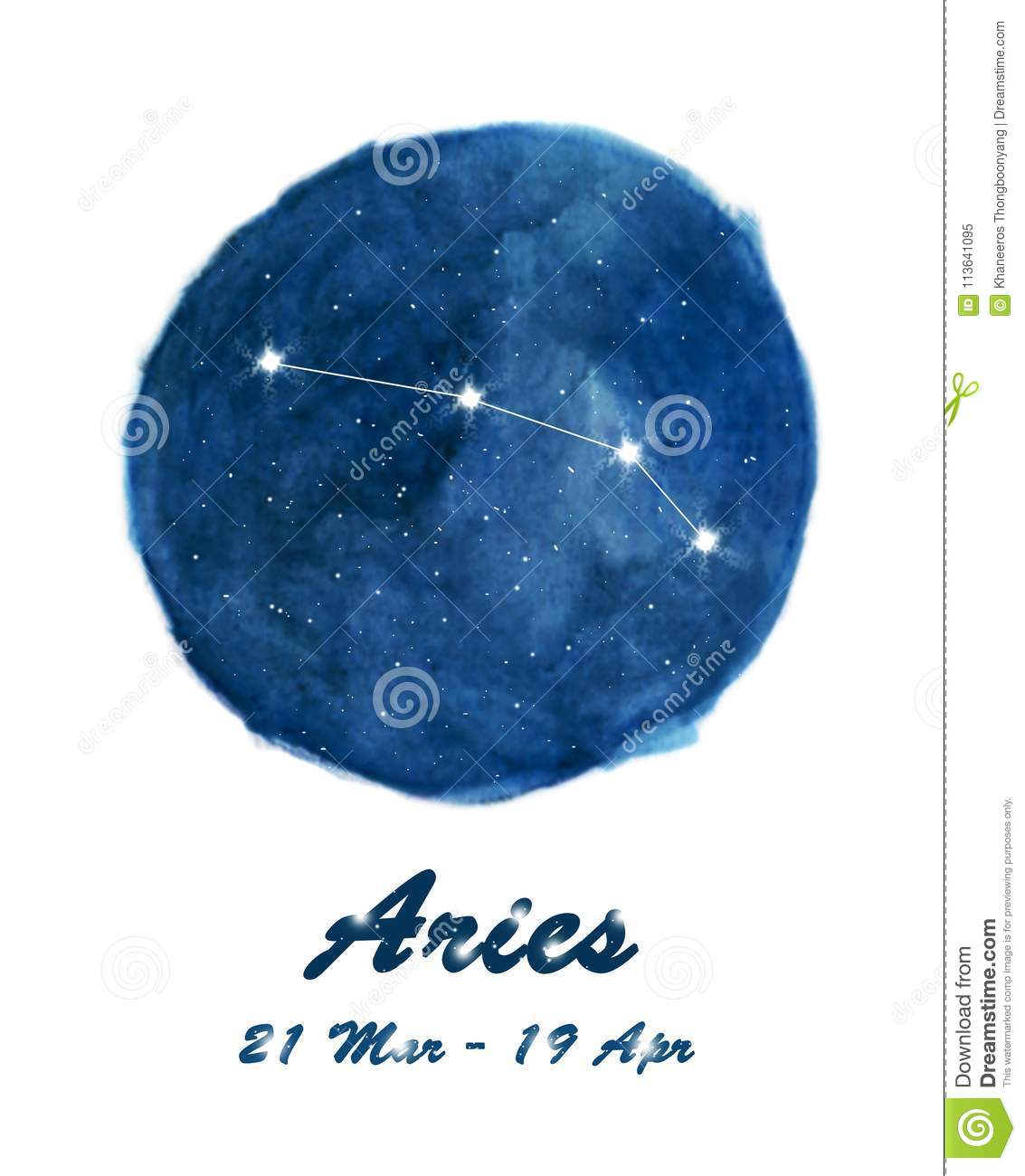 Aries constellation icon of zodiac sign Aries in cosmic stars space. Blue starry night sky inside circle background.