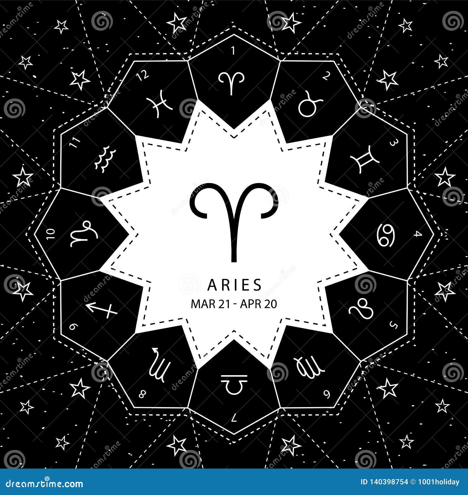 Aries I segni dello zodiaco descrivono il vettore di stile fissato sul fondo del cielo della stella