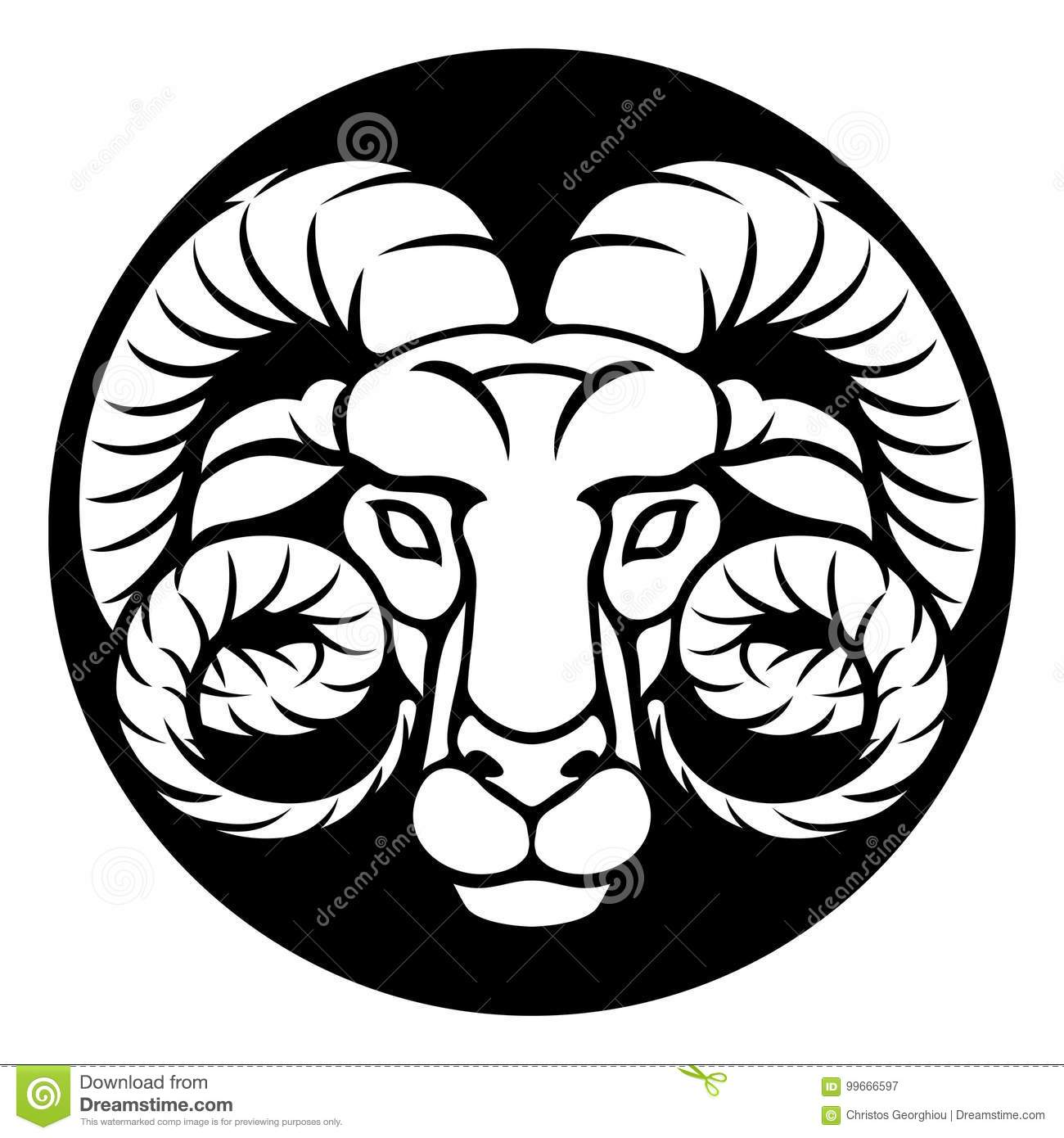 Ram Aries Zodiac Sign Stock Vector Illustration Of Astrological