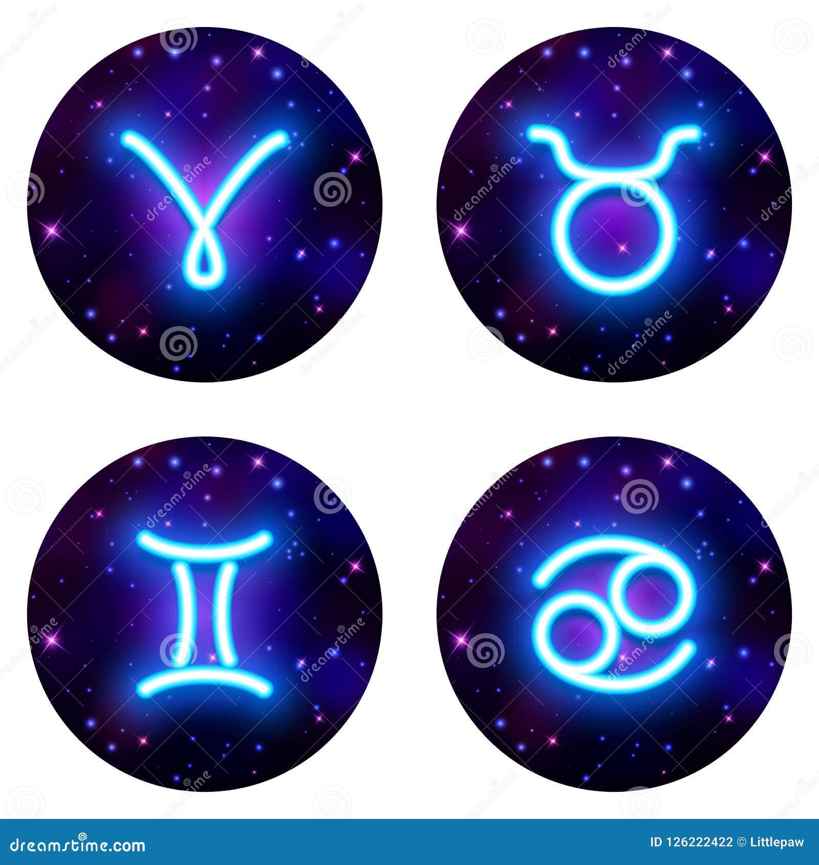 Aries Taurus Gemini Cancer Zodiac Sign Horoscope Symbol Vec