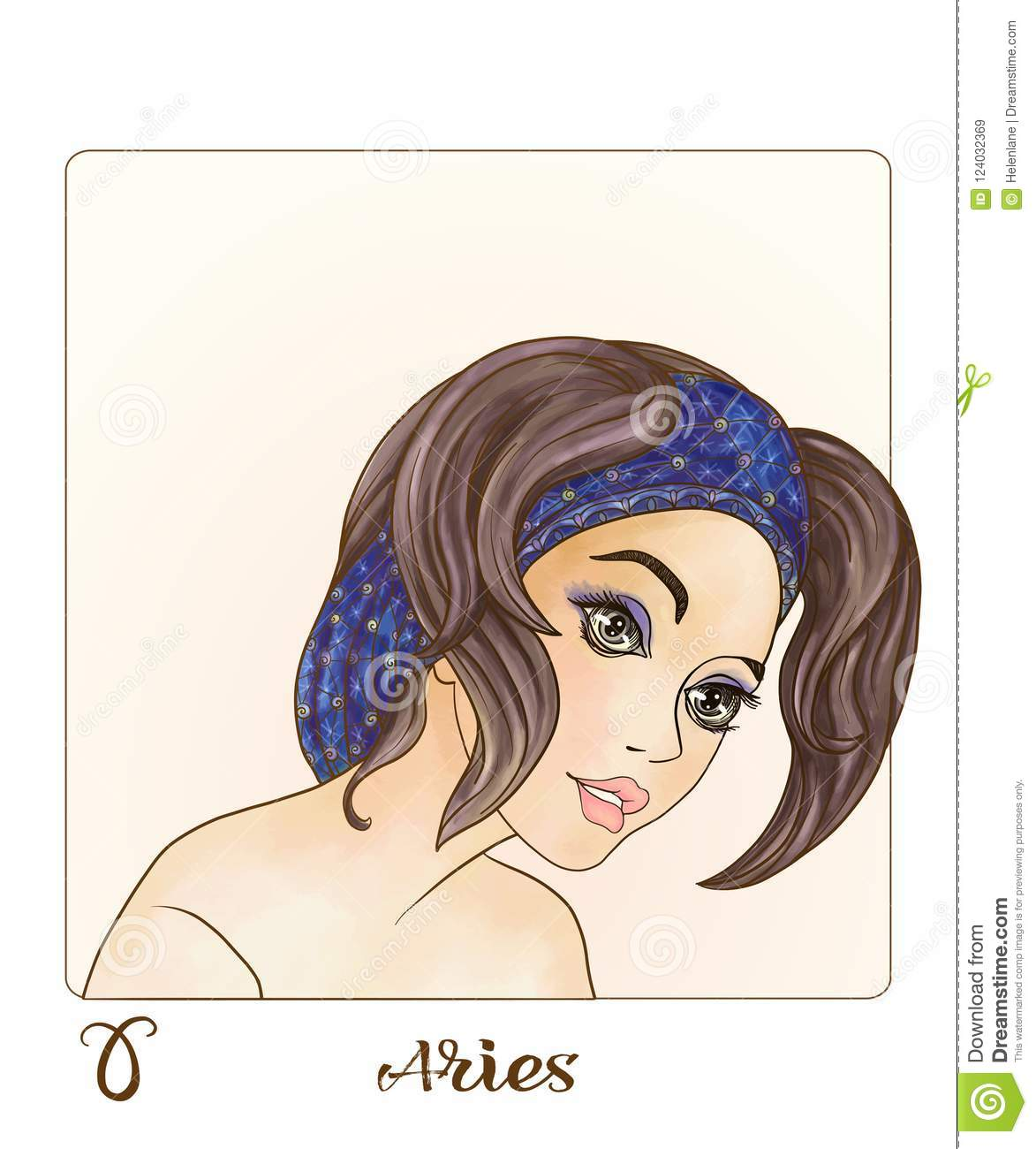 18a4fe0c932a Aries. A Young Beautiful Girl In The Form Of One Of The Signs Of The ...