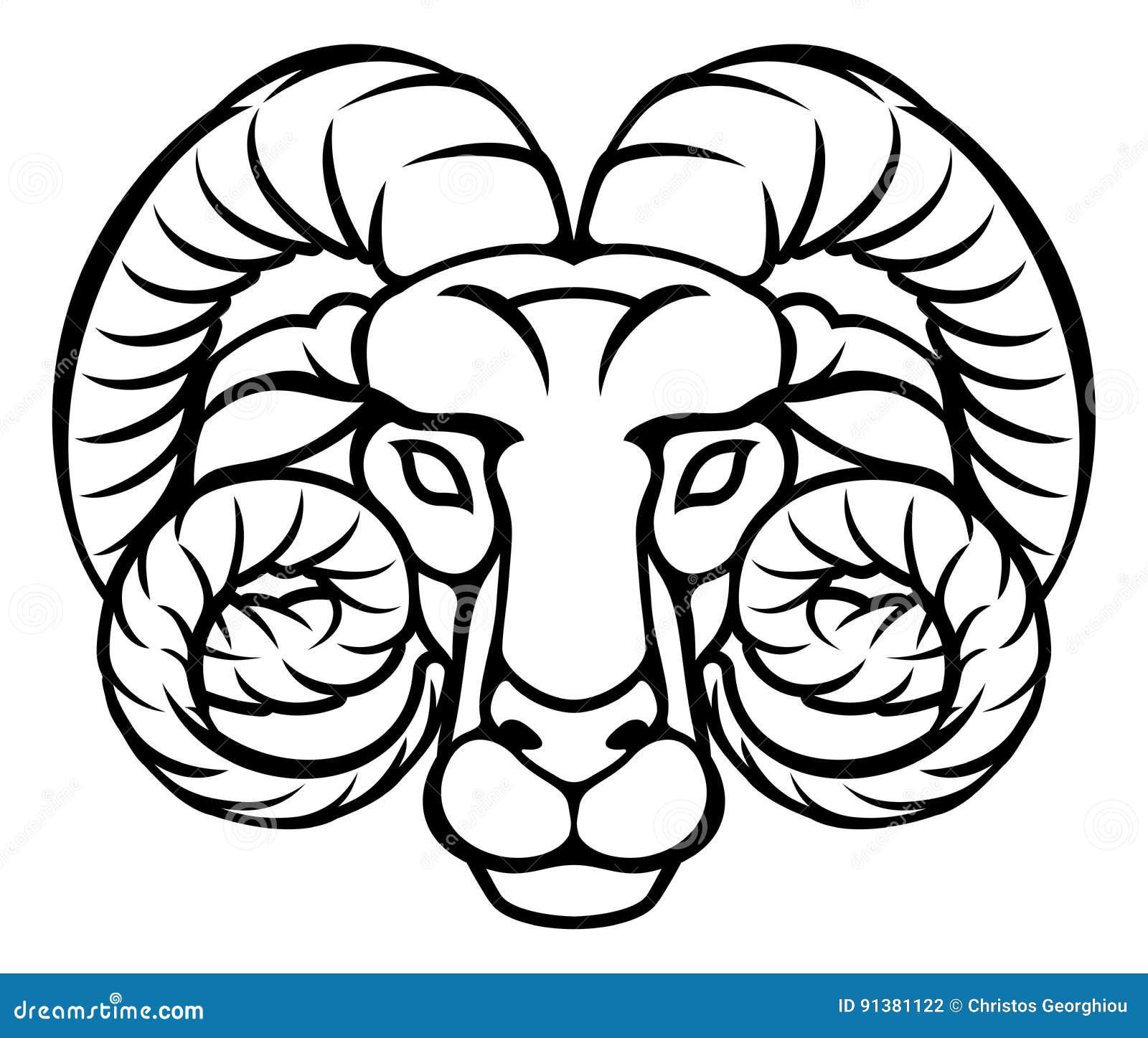 Aries Zodiac Sign Ram Stock Vector Illustration Of Icon 91381122