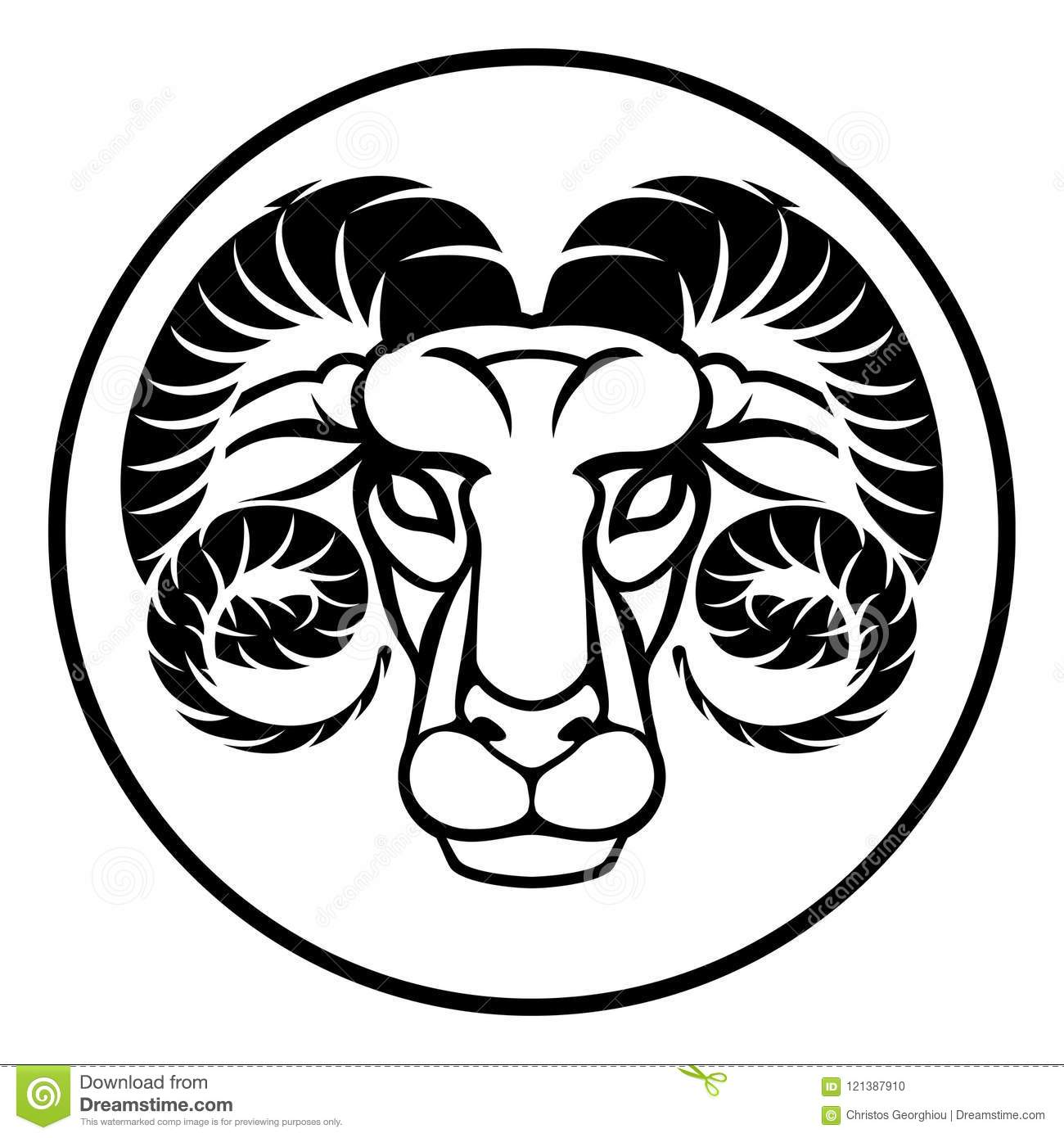 Aries Zodiac Sign Stock Vector Illustration Of Graphic 121387910