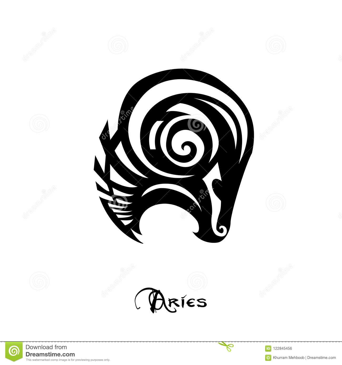 Aries Zodiac Sign Tattoo Style Stock Vector Illustration Of Symbol