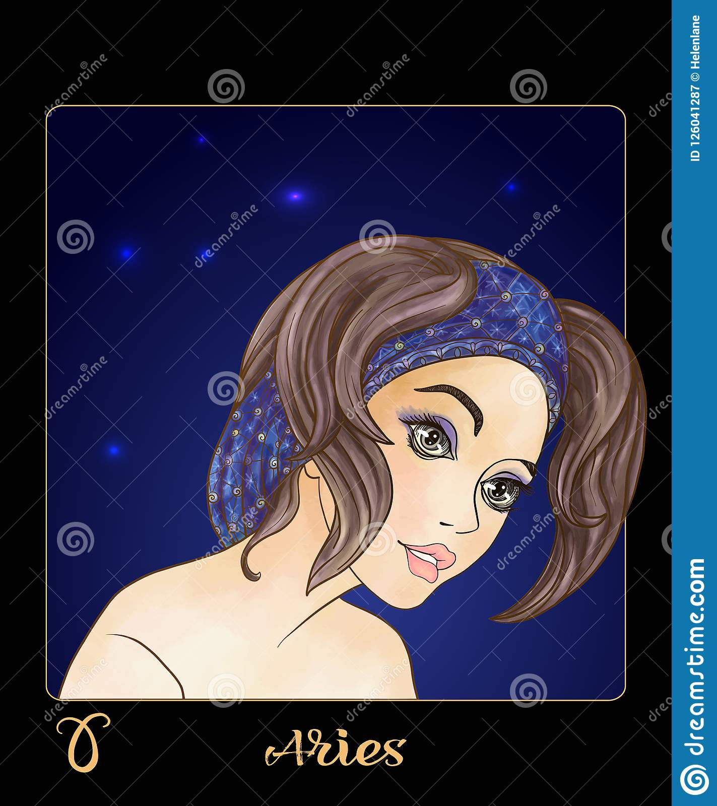 Aries Zodiac Sign  A Young Beautiful Girl In The Form Of One