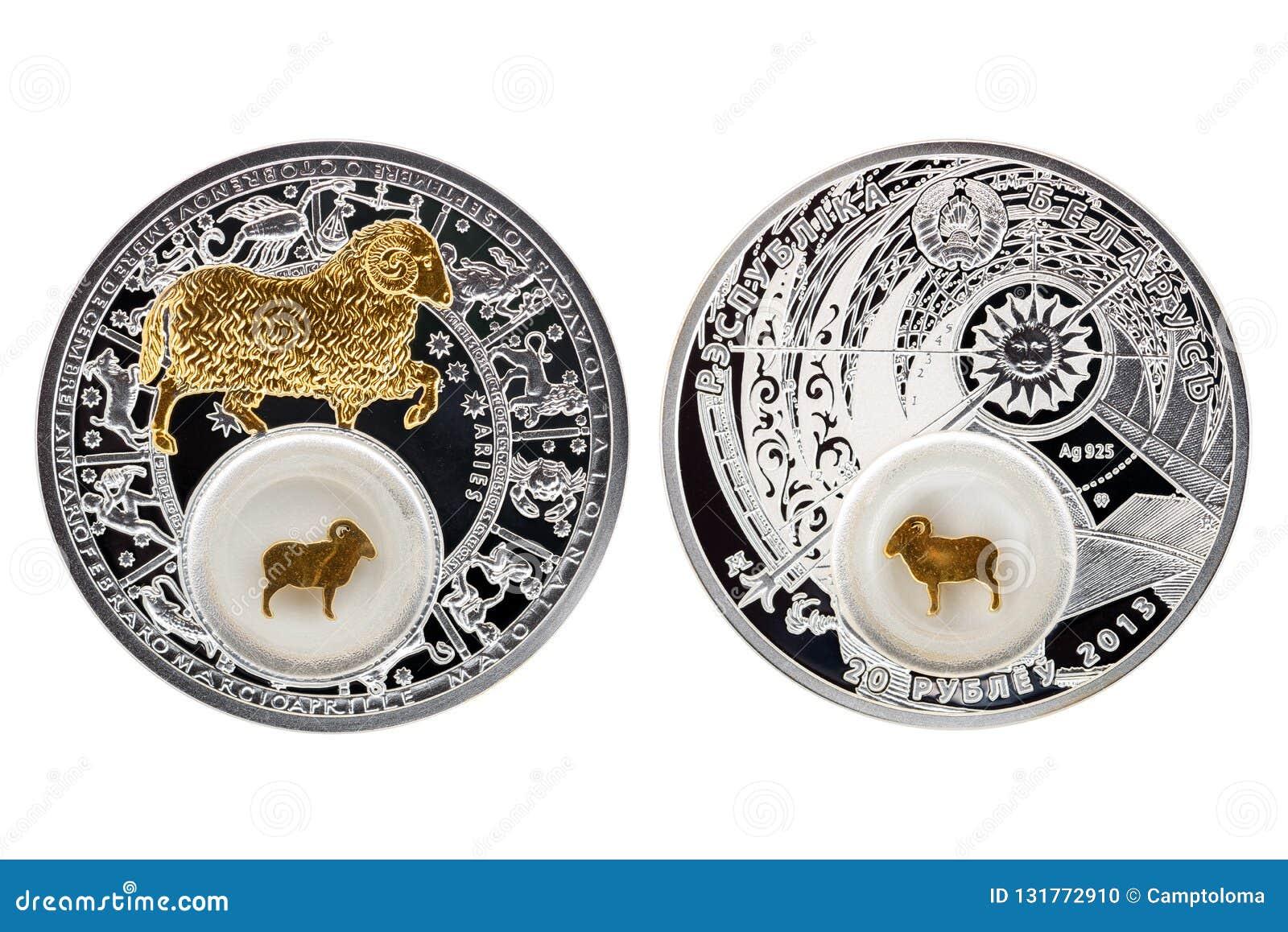 Ariete 2013 di astrologia della moneta d argento della Bielorussia