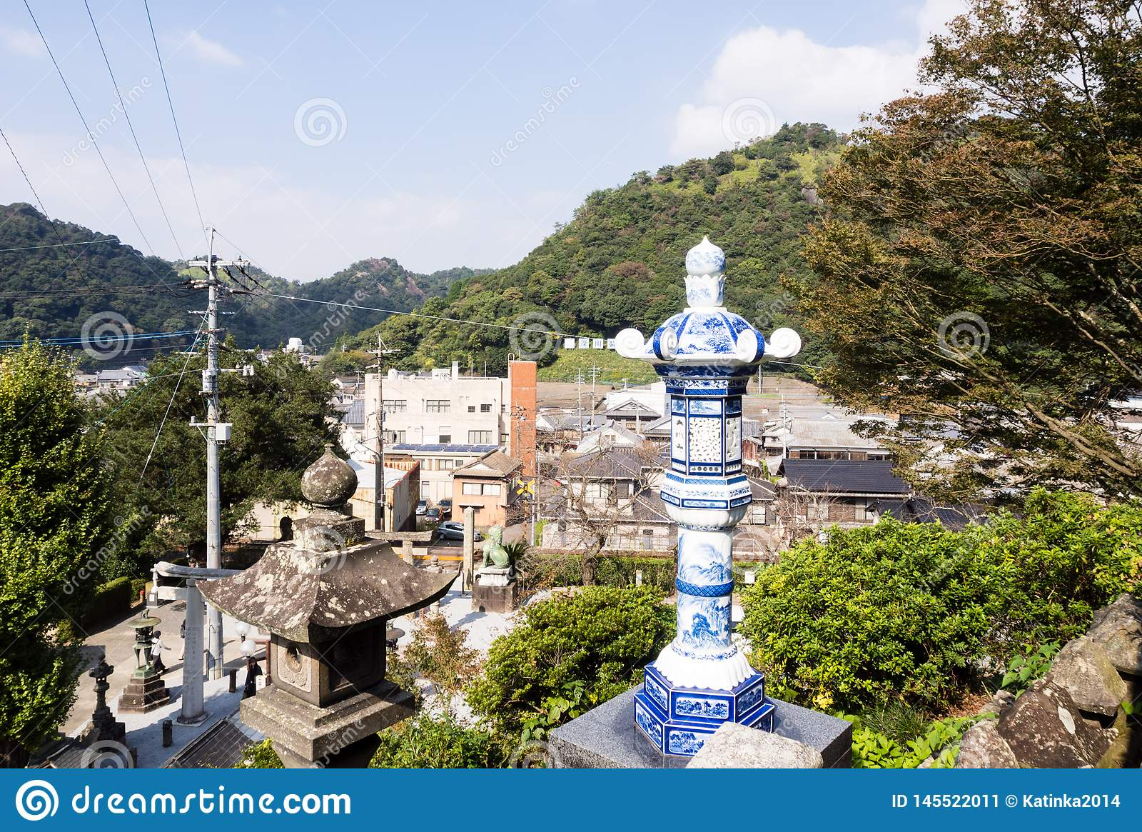 Panoramic view of Arita town from the grounds of historic Tozan shrine famous for its ceramic art
