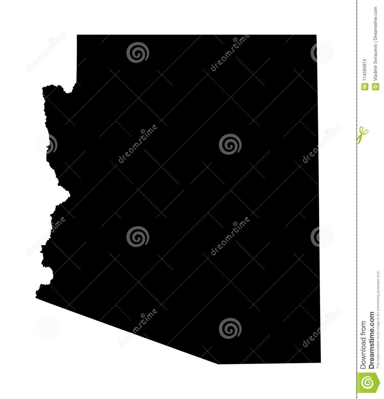 Arizona map silhouette. stock illustration. Illustration of