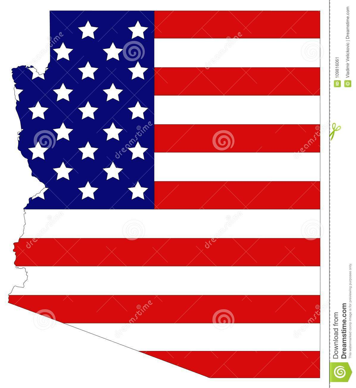 Map Of Usa Arizona.Arizona Map With Usa Flag State In The Southwestern Region Of The