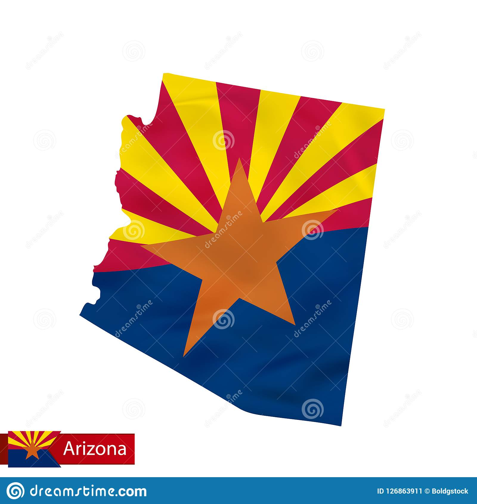 Arizona State Map With Waving Flag Of US State. Stock Vector ...