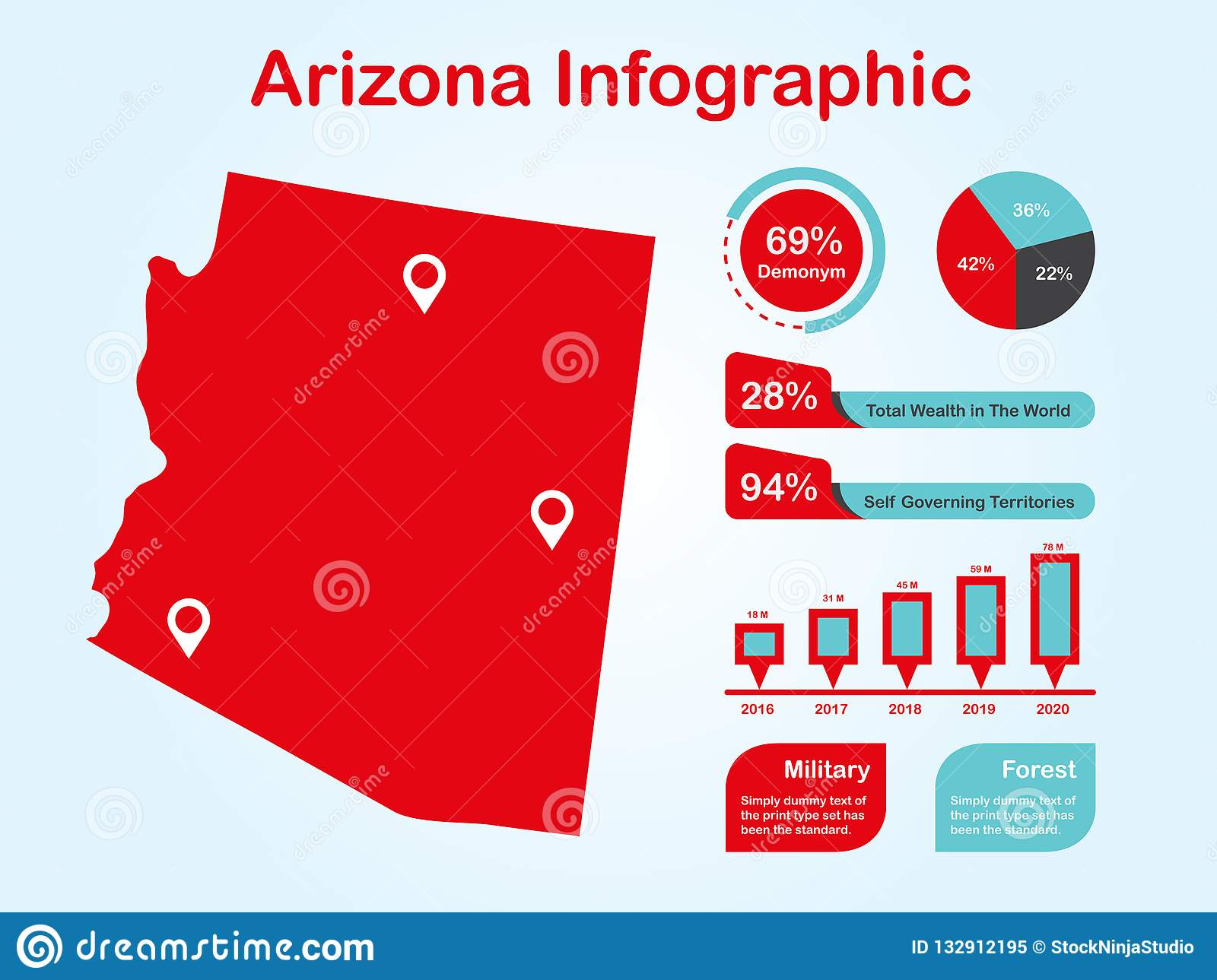 Arizona State USA Map With Set Of Infographic Elements In Red Color ...