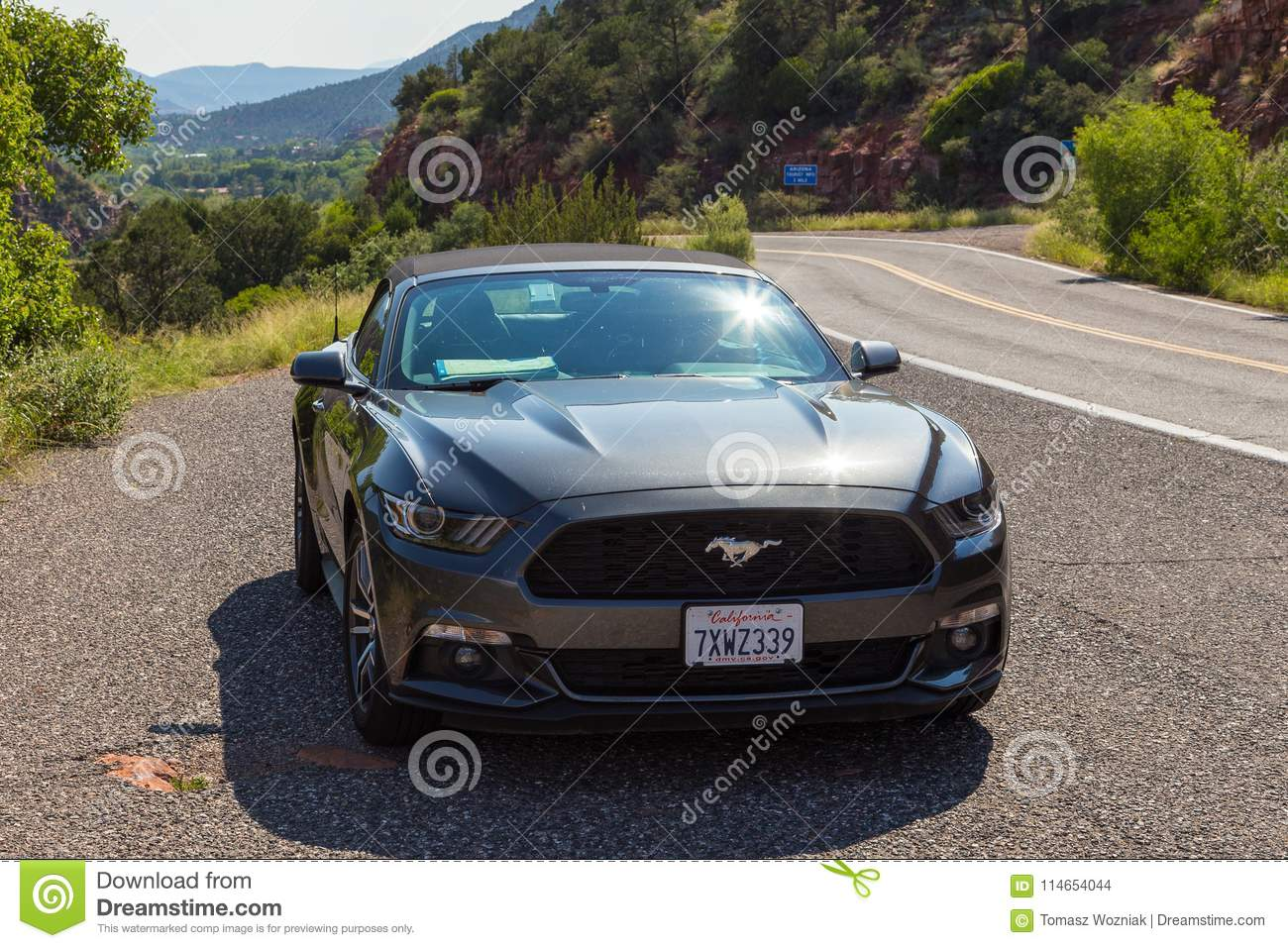 Arizona usa september 02 2017 new silver ford mustang cabriolet on the street in arizona