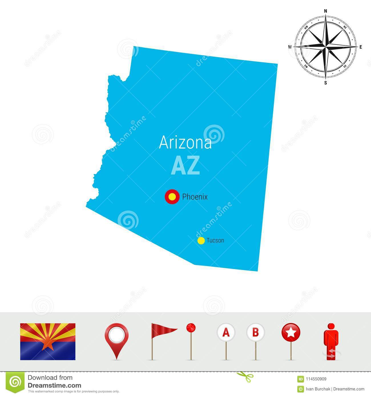 Map Of Arizona Only.Arizona Vector Map Isolated On White Background High Detailed