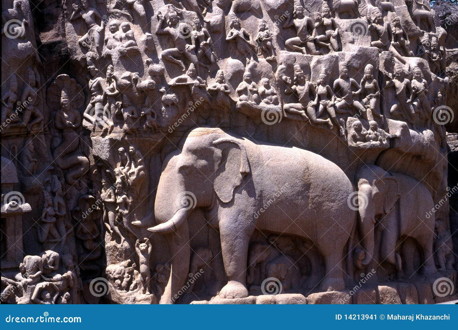 Tamil Nadu India  city pictures gallery : Arjuna's Penance,Mamallapuram,Tamil Nadu,India Stock Image Image ...