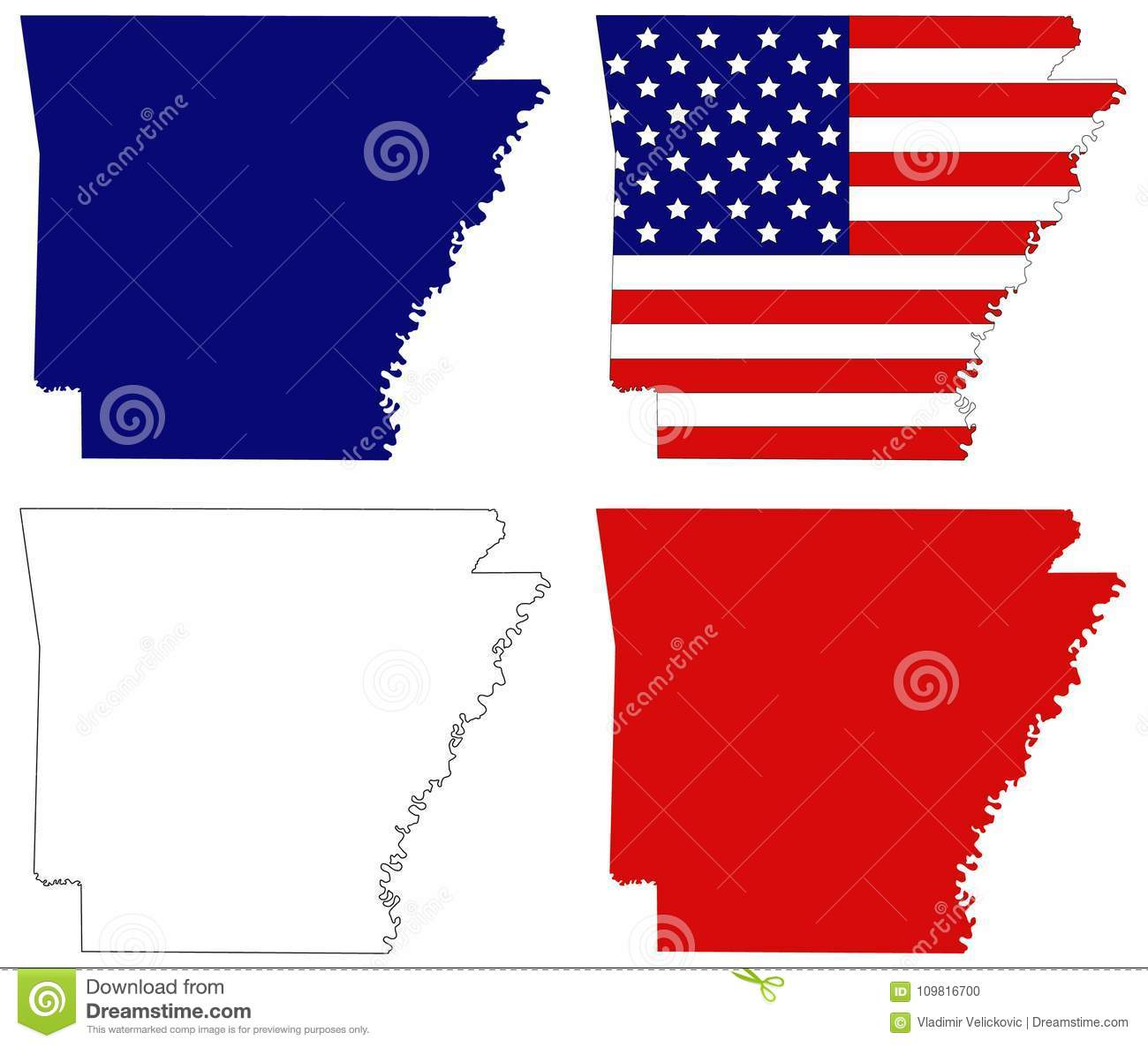 Southeastern Map Of Usa.Arkansas Map With Usa Flag State In The Southeastern Region Of The