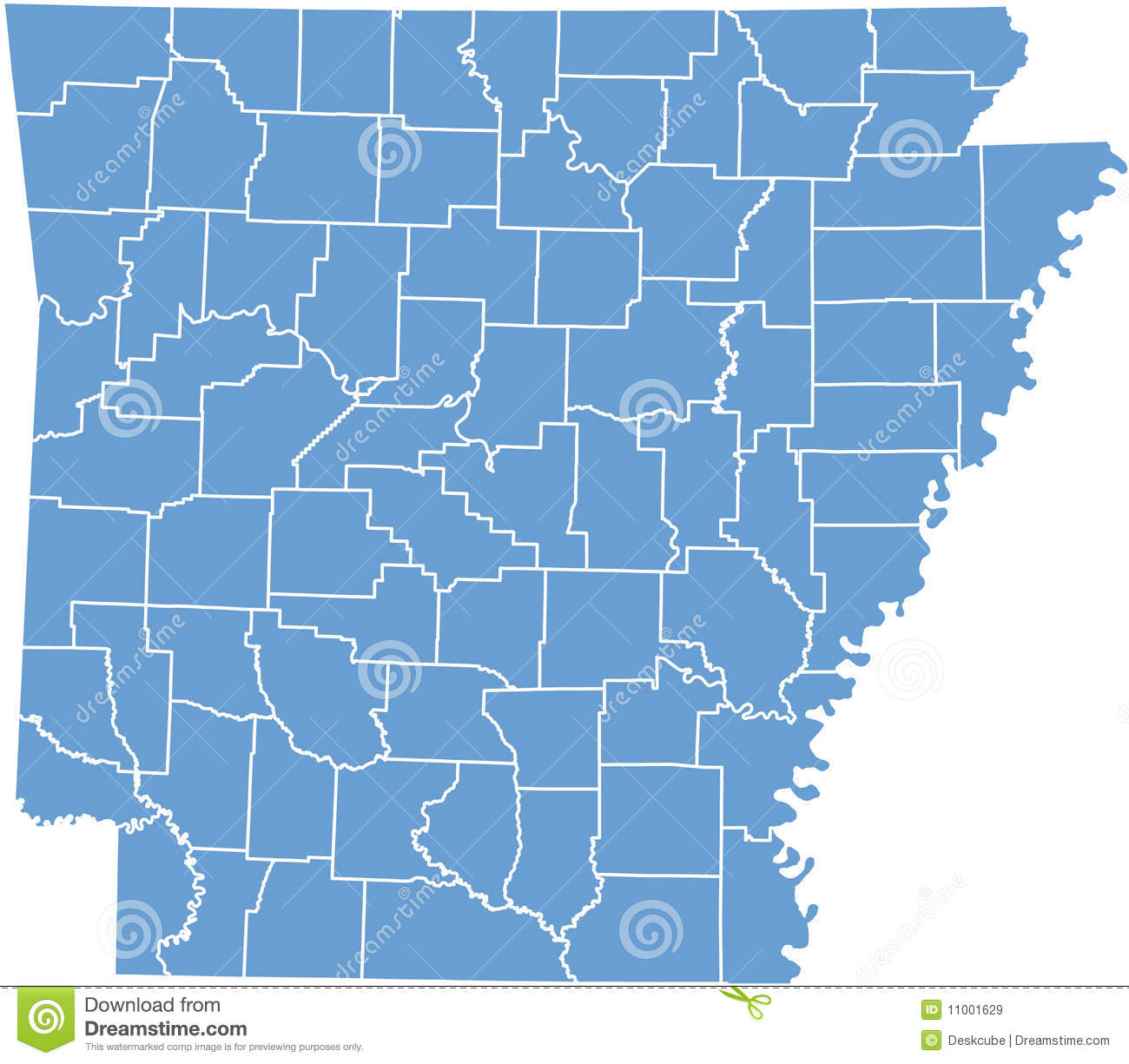 Arkansas State Map By Counties Stock Vector - Illustration of lines ...