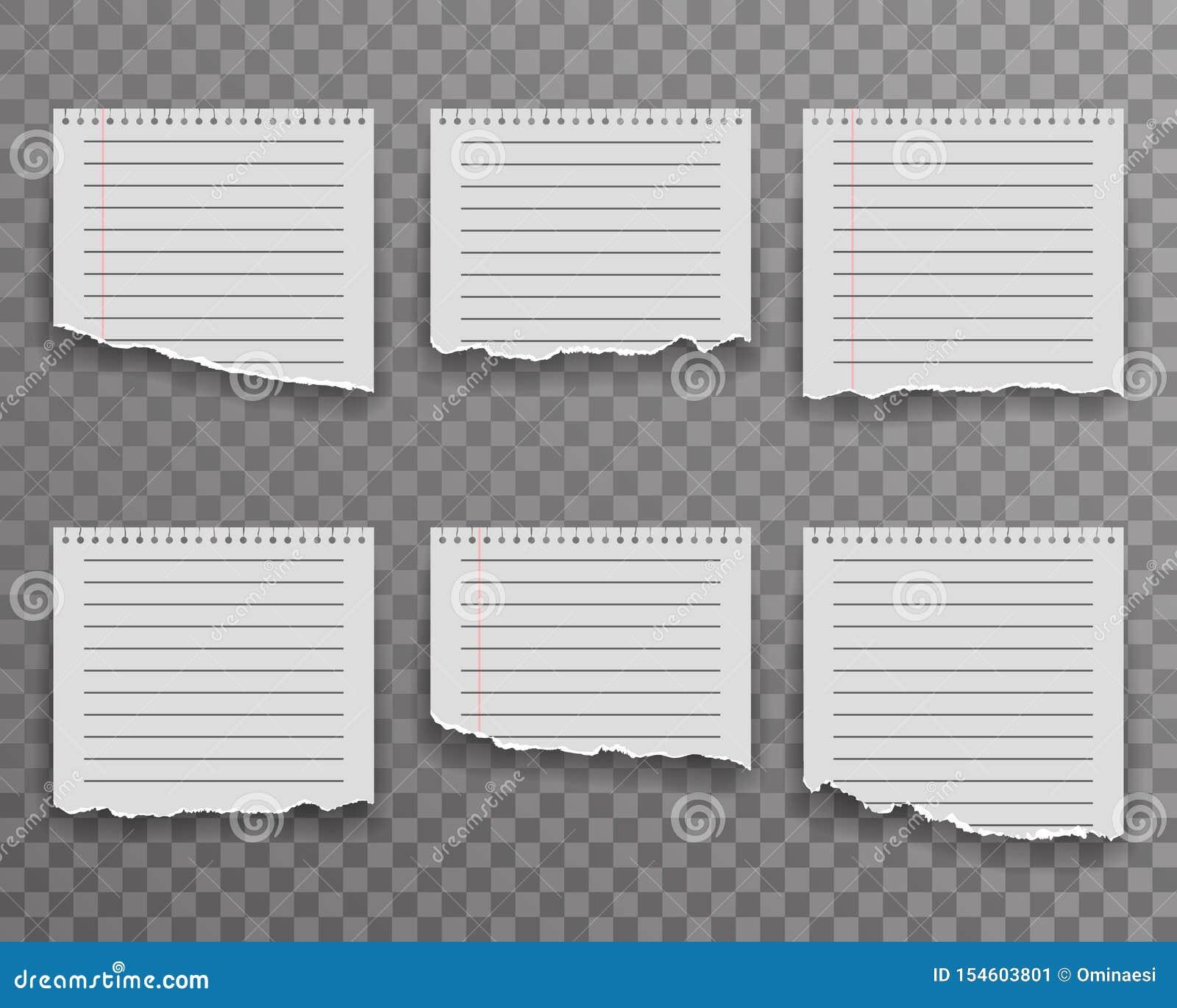 Arket för anmärkningar för den pappers- kanten för anteckningsboken rev sönder det sönderrivna för bakgrundsvektorn för realistis