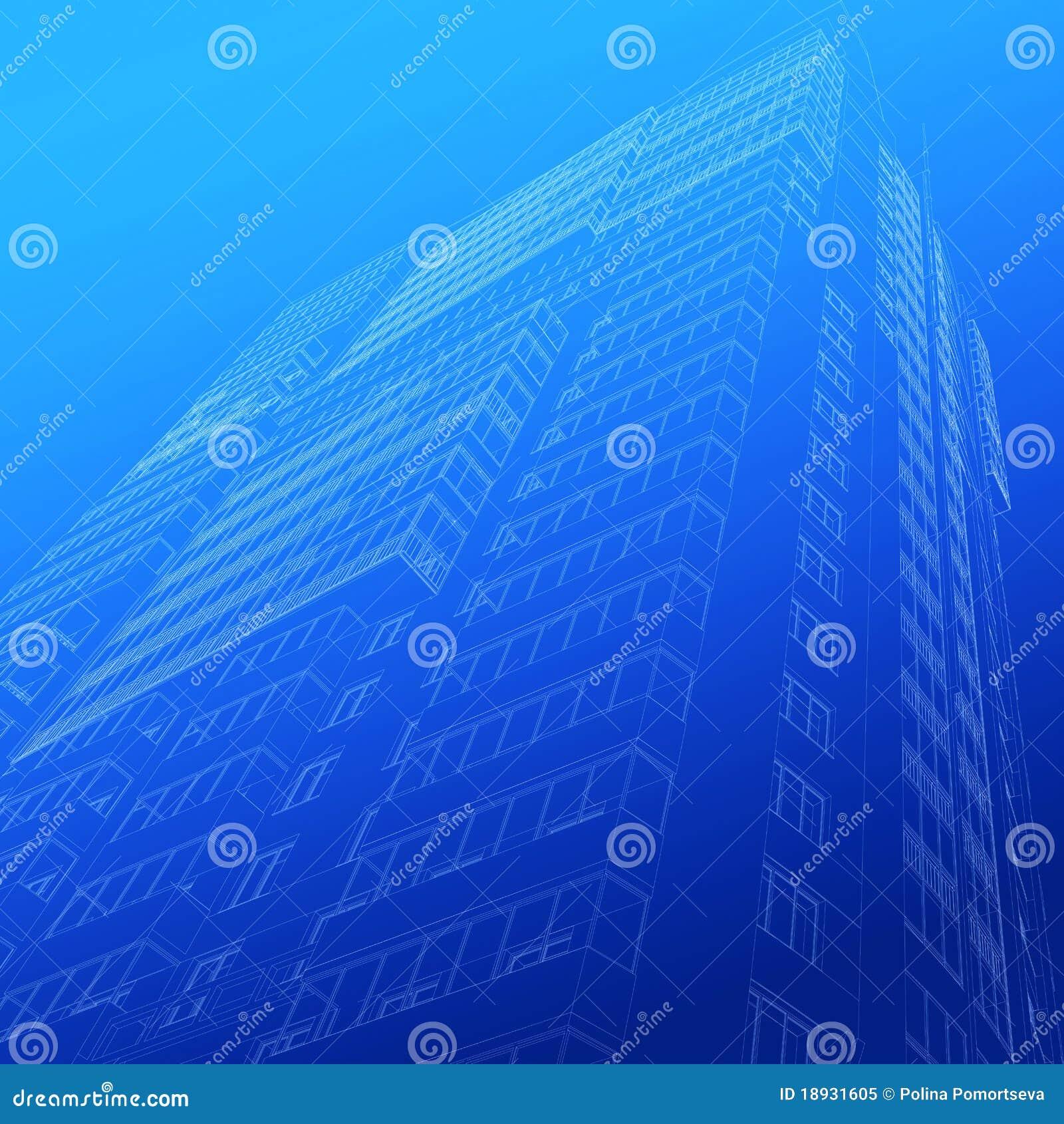 Arkitektonisk byggnad skissar