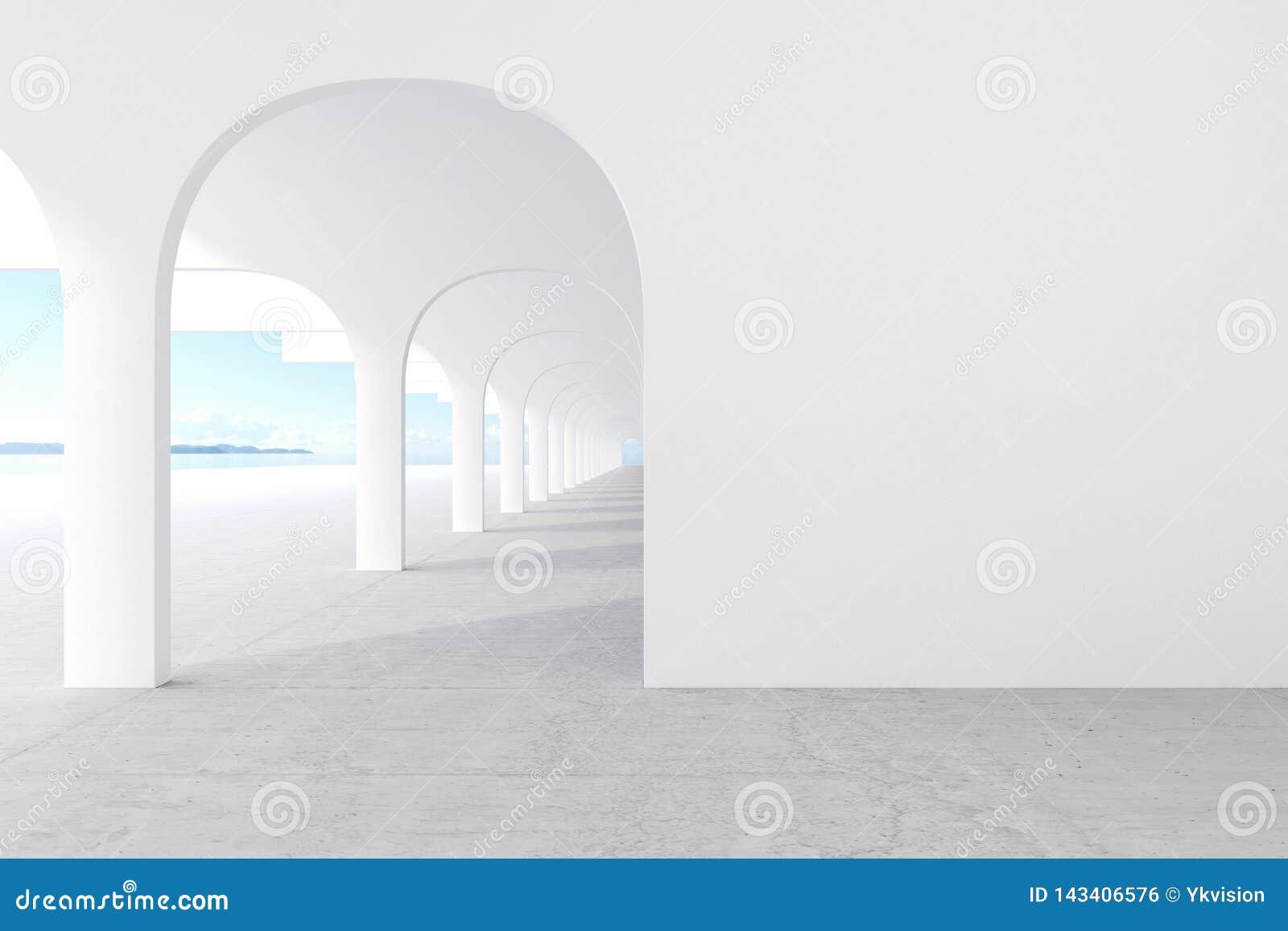 Arkitektonisk korridor för vit färg med den tomma väggen, konkret golv, horisontlinje