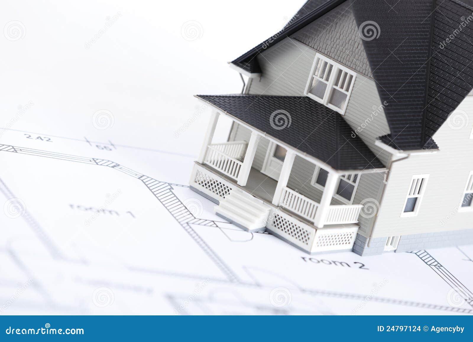 Arkitektoniskt plan för konstruktionshusmodell