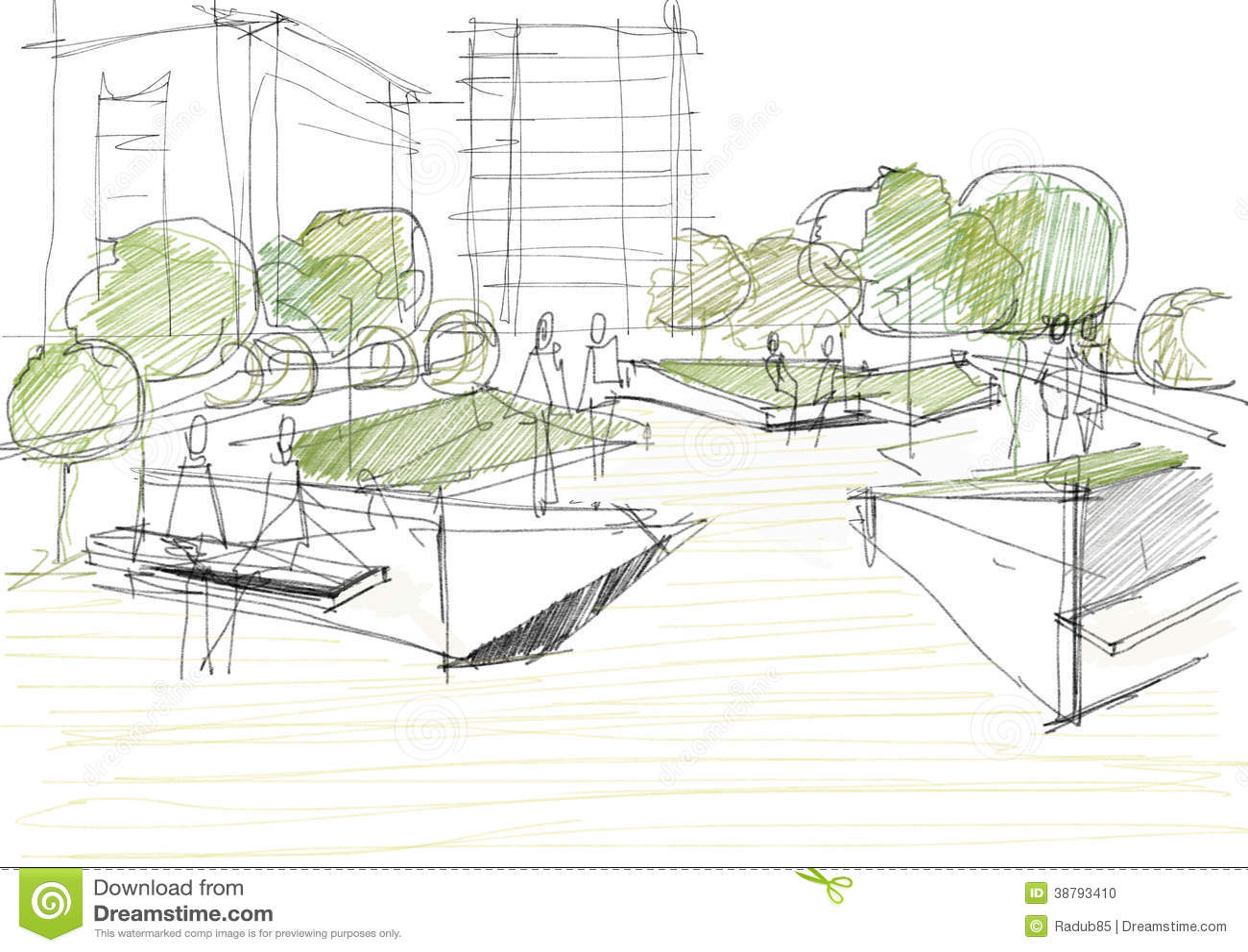 Arkitektoniskt skissa av offentligt parkerar