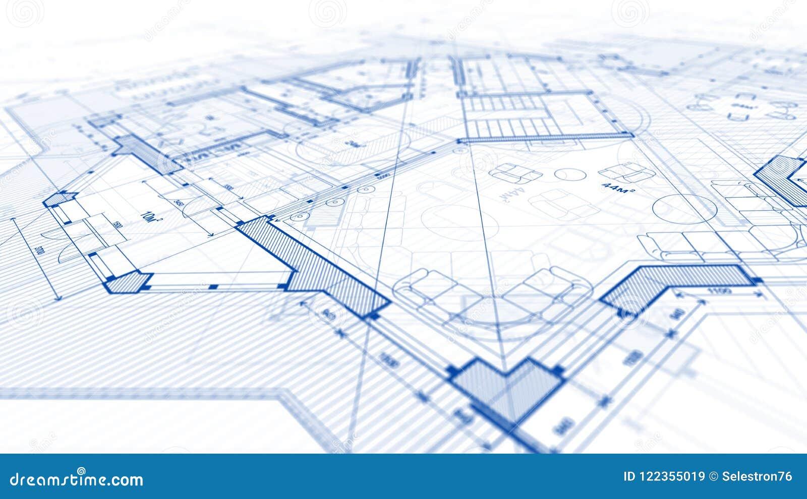 Arkitekturdesign: ritningplan - illustration av en planändring