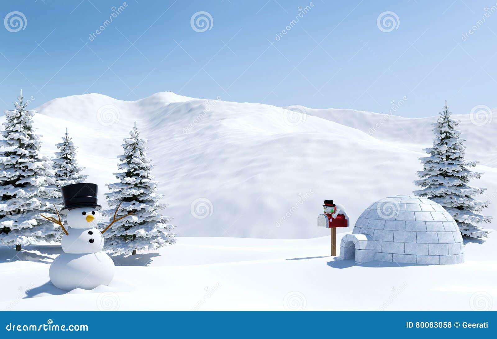 arktische landschaft schneefeld mit iglu und schneemann. Black Bedroom Furniture Sets. Home Design Ideas