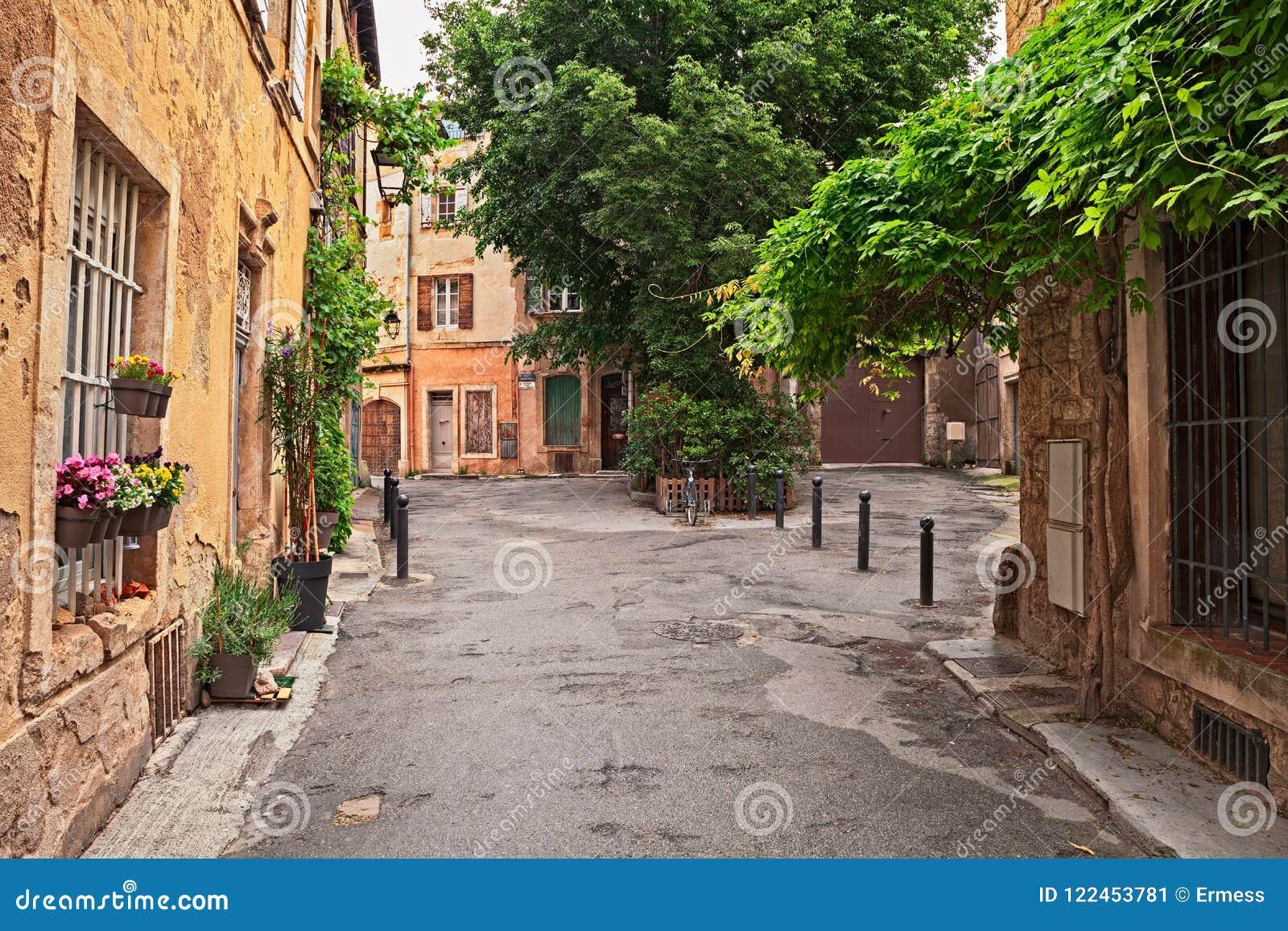 Arles Provenza Francia Vicolo Nella Vecchia Città Con Le Piante E