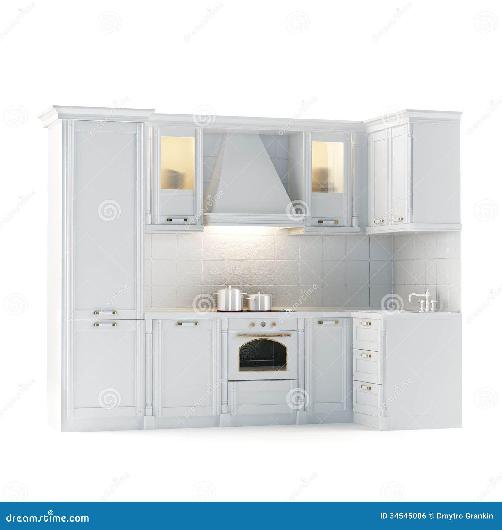 Armário de cozinha branco clássico (isolado no branco)