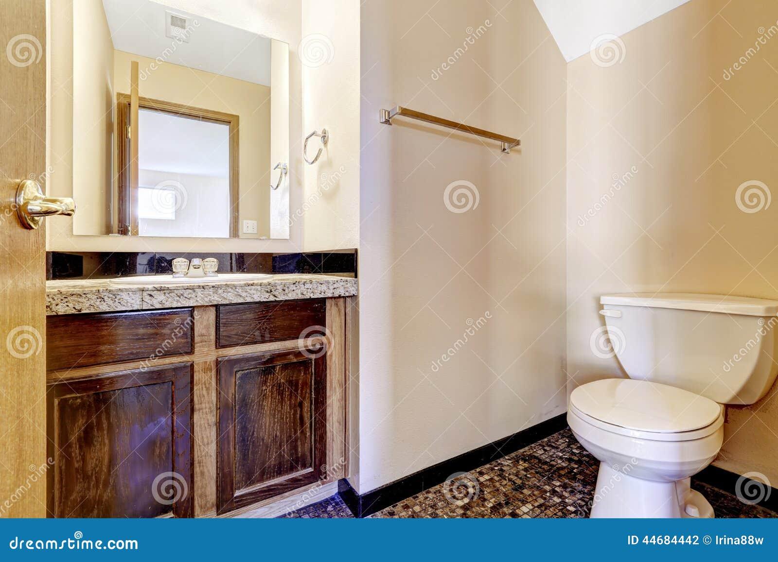 de madeira velho da vaidade do banheiro com parte superior do granito #957136 1300 957