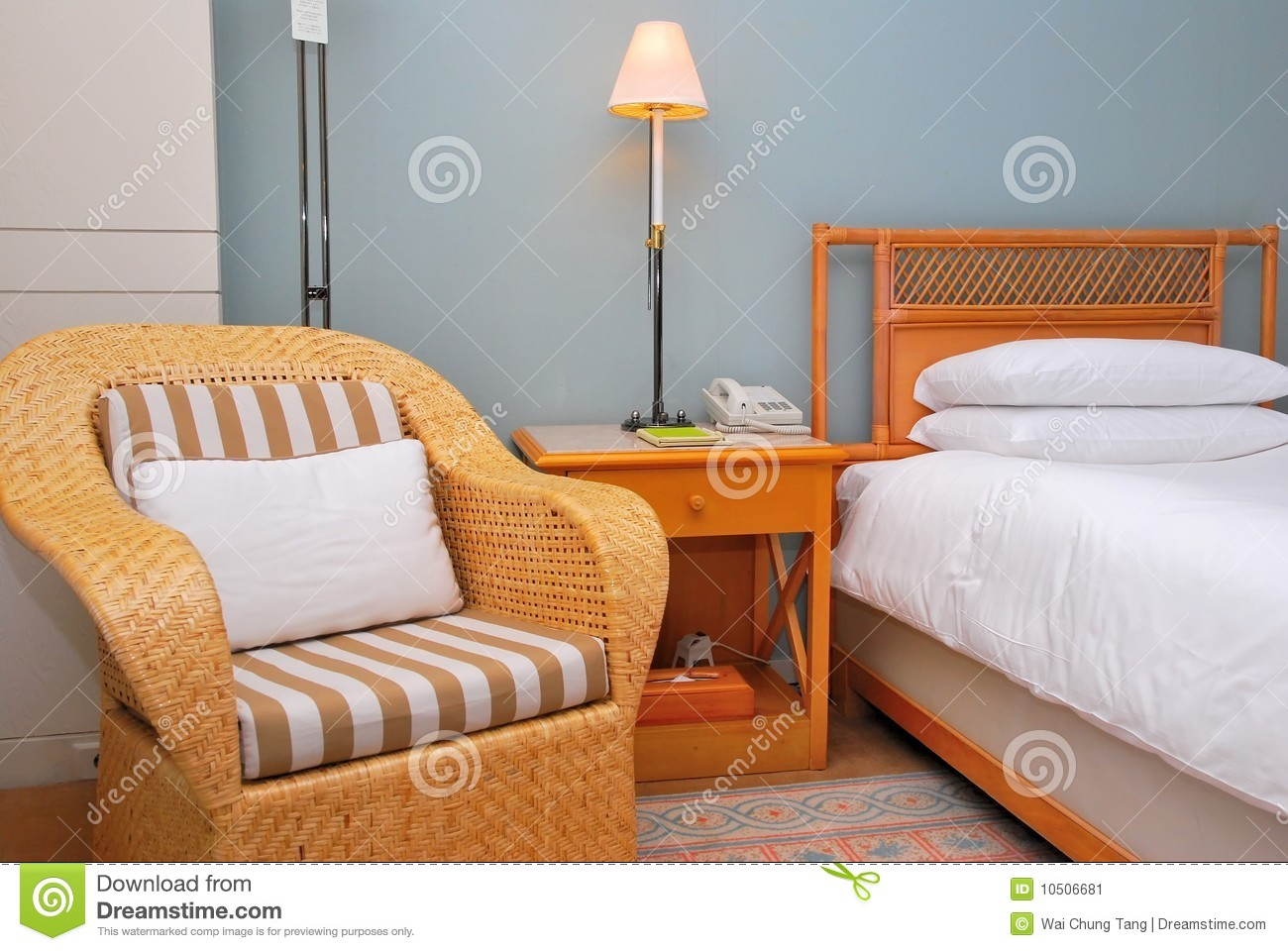 royalty free stock photo - Chair As Bedside Table