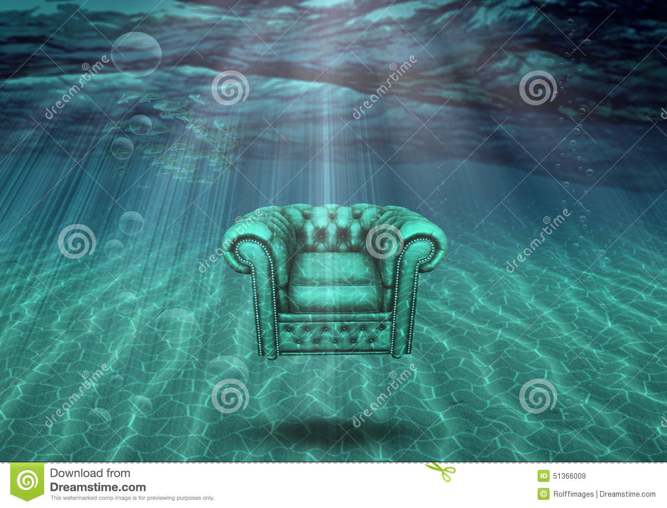 Arm chair floats in sea bottom stock illustration image for Floating fishing chair