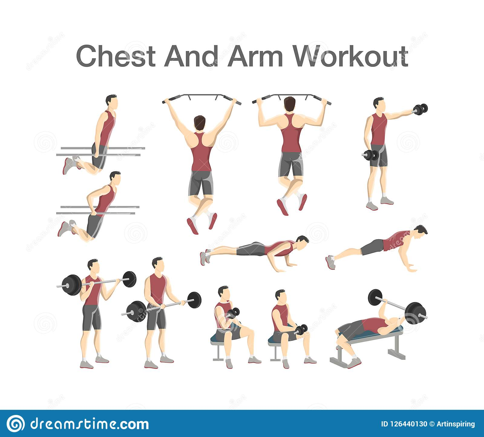 Dumbbell Chest Workouts For Men: Arm And Chest Workout Set With Different Tools Stock