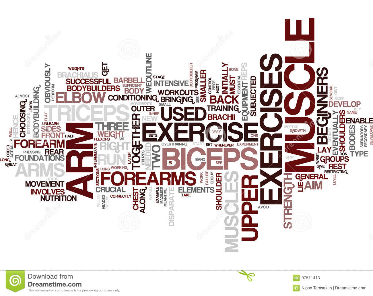 Arm Exercise For Great Arms Word Cloud Concept
