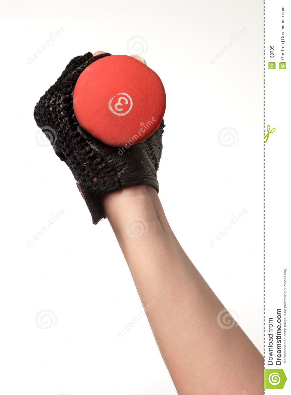 Arm holding a three pound weight