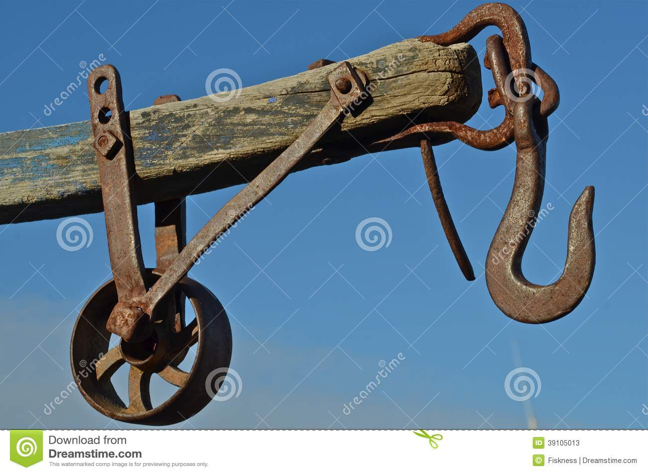 Arm, Pulley, And Wheel Of A Winch System Stock Image - Image