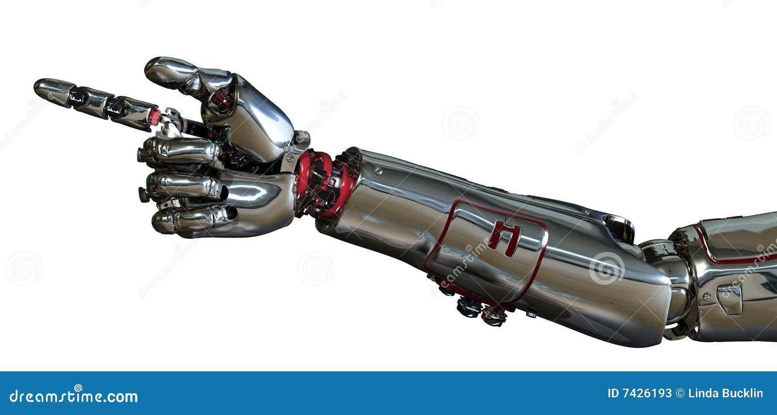 Arm som pekar roboten