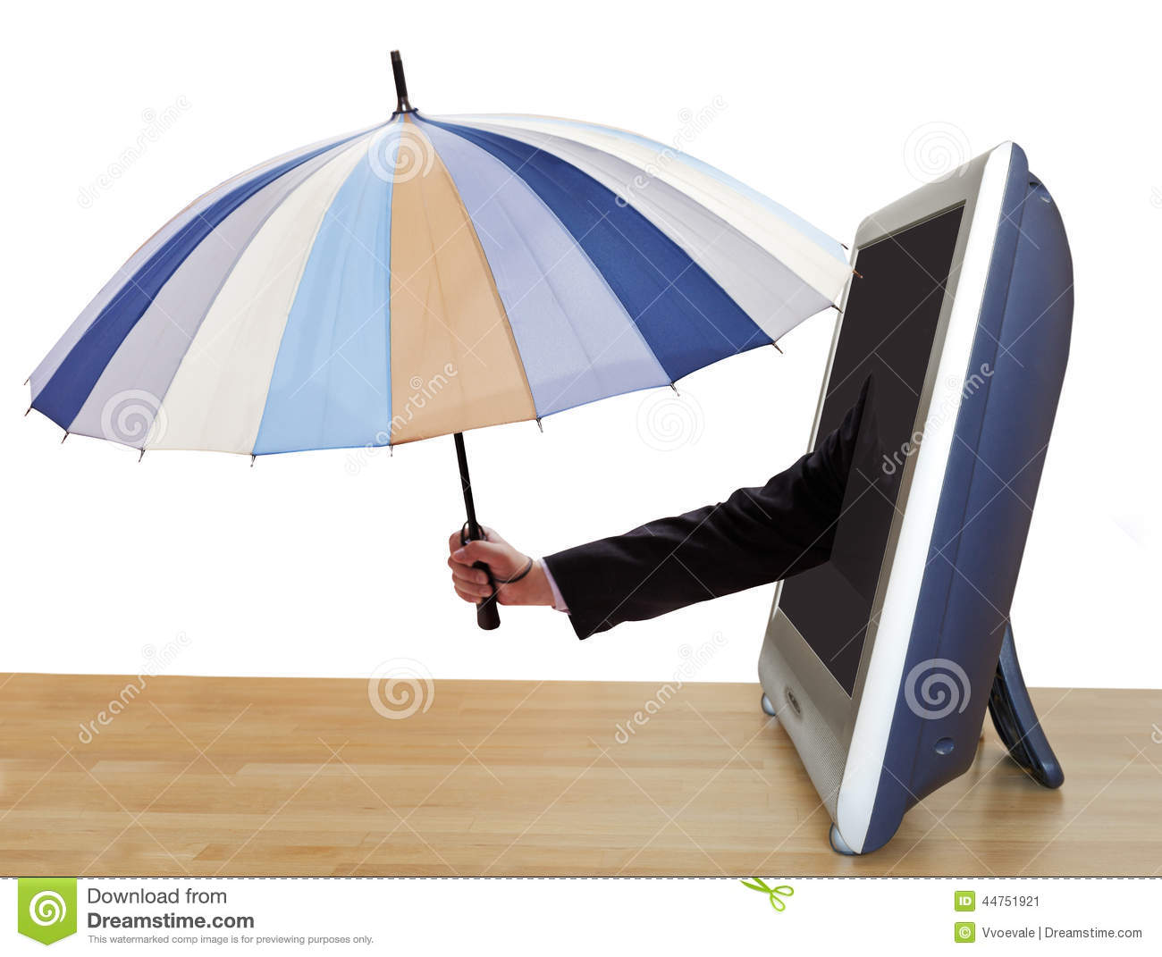 Arm With Umbrella Leans Out TV Screen Stock Photo Image