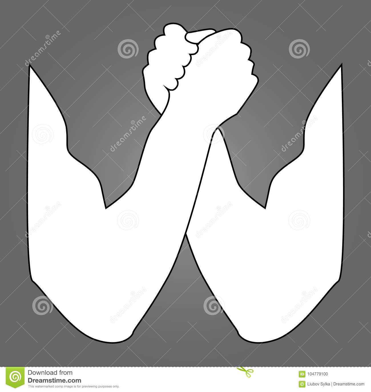 Arm wrestling silhouette. Arm wrestling, hands, vector illustration, for logo, your design. Two human hands holding each other vec