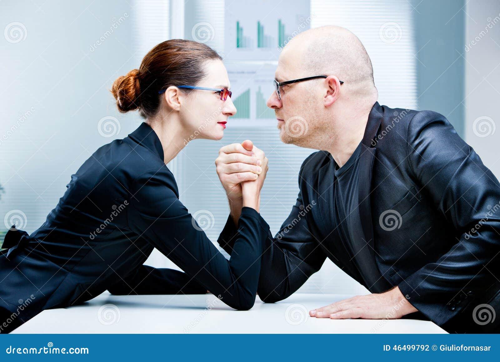 Arm wrestling woman VS man