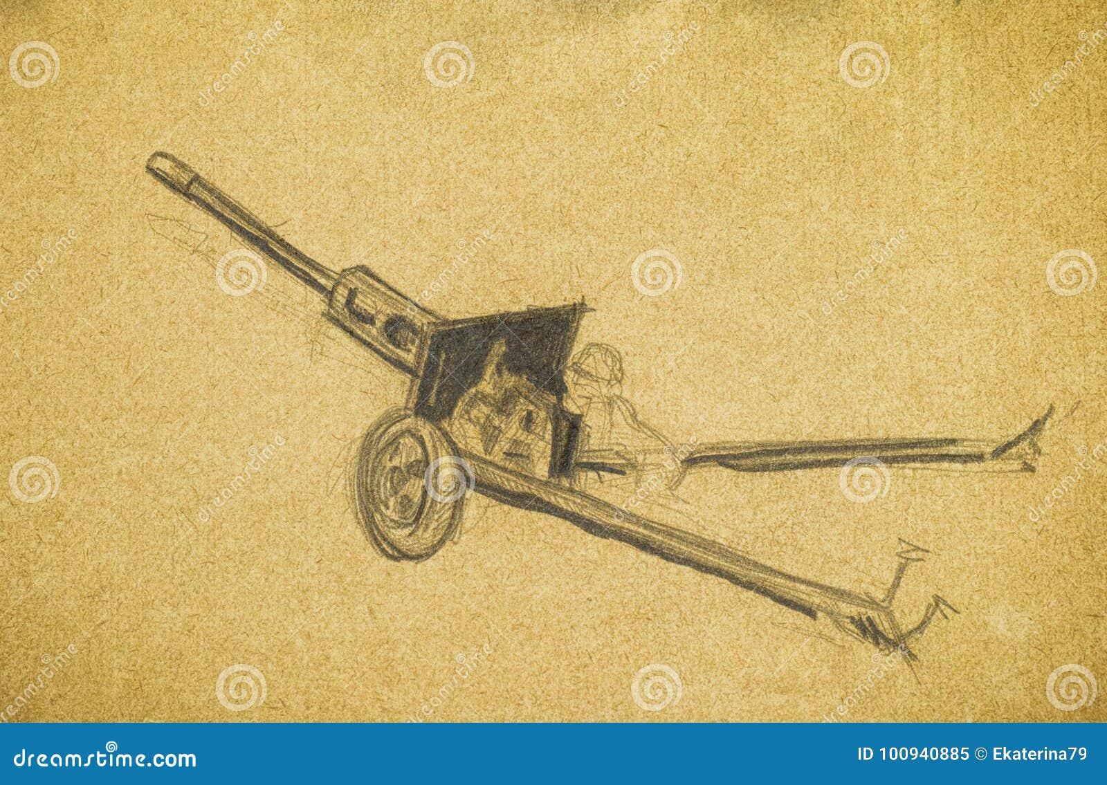 Arma Antitanques Dibujo De La Mano Del Lápiz Stock De Ilustración