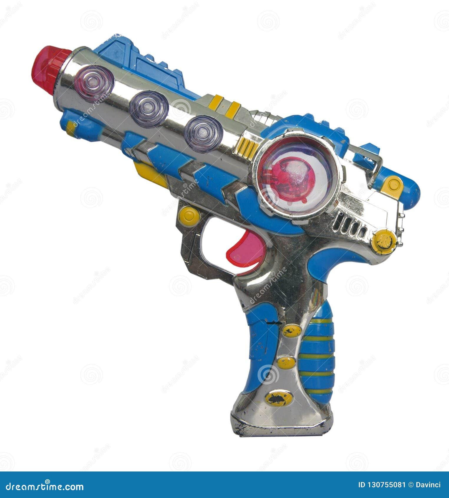 Arma de rayo retro del juguete en blanco