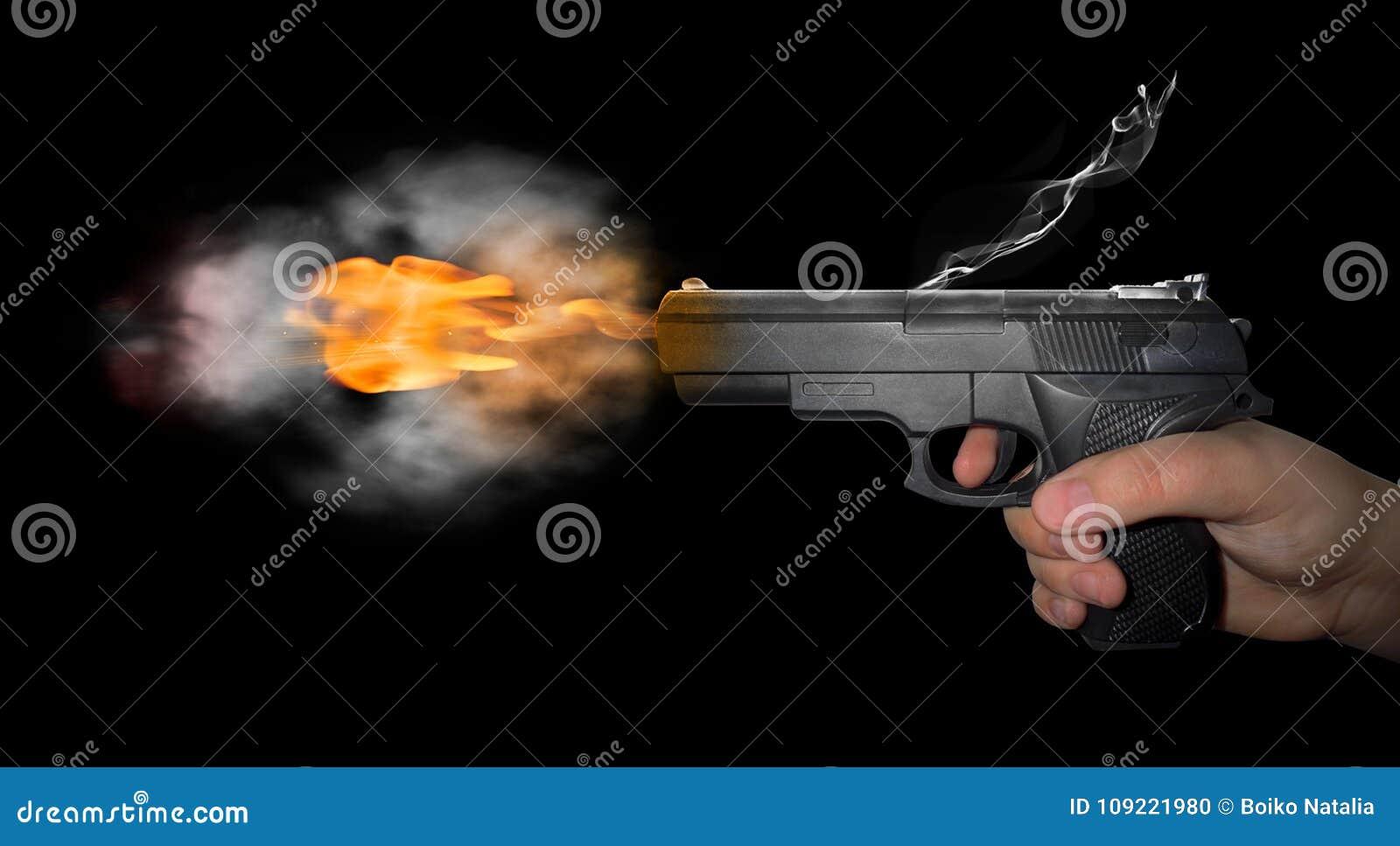 Arma tirado con humo