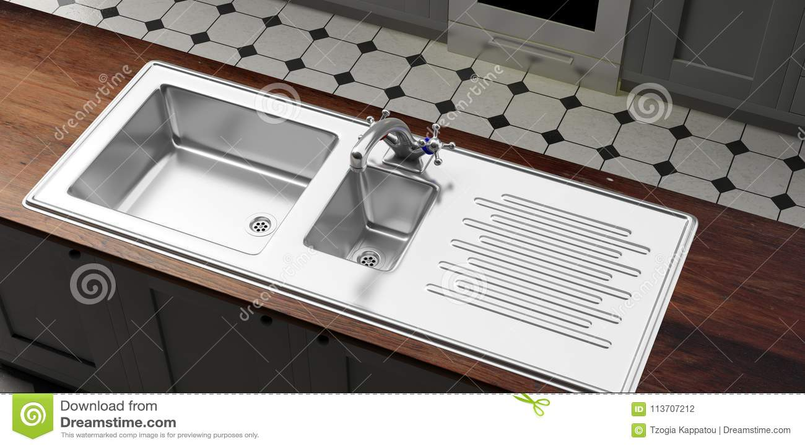 Armadi Da Cucina Con Il Lavandino Dell\'acciaio Inossidabile ...
